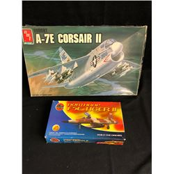 UNASSEMBLED MODEL KIT LOT (VOUGHT A-7E CORSAIR II, NORTHROP F5E TIGER II 1:48 SCALE)