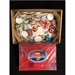 SUPERMAN PLATINUM SERIES COLLECTOR'S EDITION SKYBOX & POPEYE POGS LOT
