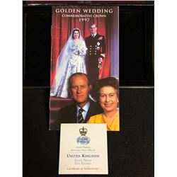 GOLDEN WEDDING COMMEMORATIVE CROWN 1997 (SILVER PROOF) W/ COA