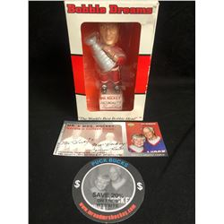 GORDIE HOWE COLLECTIBLES LOT (SIGNED BOBBLE HEAD/ PUCK BUCKS/ ANNIVERSARY TICKET STUB)