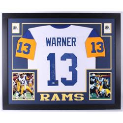 Kurt Warner Signed St. Louis Rams 35x43 Custom Framed Jersey (Beckett COA)