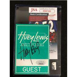 HUEY LEWIS SIGNED CONCERT BACKSTAGE PASS (JSA COA)