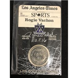 1999 Los Angeles Kings Limited Edition Rogie Vachon Collectors Coin W/ JSA COA (Signed Card)