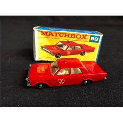 1966 LESNEY MATCHBOX #59 FORD GALAXIE RED FIRE CHIEF CAR