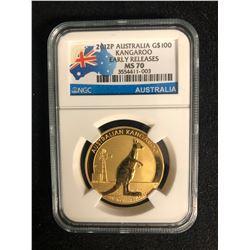 2012P AUSTRALIA G$100 KANGAROO EARLY RELEASES MS 70 (NGC AUSTRALIA)