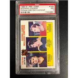 1980 O-PEE-CHEE #163 SCORING LEADERS DIONNE/ GRETZKY/ LAFLEUR (NM 7)