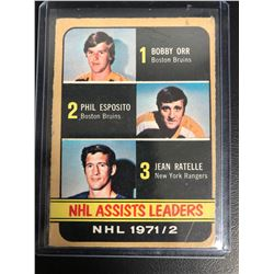 1972-73 Topps #62 Assist leaders (Bobby Orr/ Phil Esposito/ Jean Ratelle)