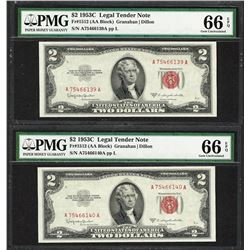 Lot of (2) Consecutive 1953C $2 Legal Tender Notes Fr.1512 PMG Gem Uncirculated 66EPQ