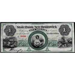1800's $1 State Bank at New Brunswick, New Jersey Obsolete Note