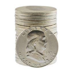 Roll of (20) Brilliant Uncirculated 1953 Franklin Half Dollar Coins