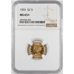1903 $2 1/2 Liberty Head Quarter Eagle Gold Coin NGC MS65+