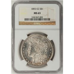 1892-CC $1 Morgan Silver Dollar Coin NGC MS63