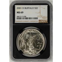 2001-D $1 Buffalo Commemorative Silver Dollar Coin NGC MS69 Black Core