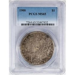 1900 $1 Morgan Silver Dollar Coin PCGS MS65