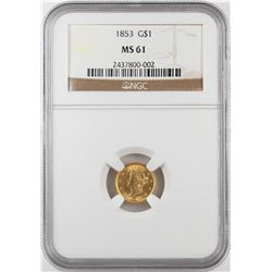 1853 $1 Liberty Head Gold Dollar Coin NGC MS61