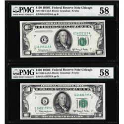 Lot of (2) 1950E $100 Federal Reserve Notes Chicago PMG Choice About Uncirculated 58