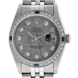 Rolex Mens Stainless Steel Meteorite Diamond & Sapphire Datejust Wristwatch