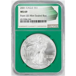 2001 $1 American Silver Eagle Coin NGC MS69 Green Core