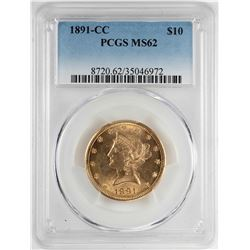 1891-CC $10 Liberty Head Eagle Gold Coin PCGS MS62