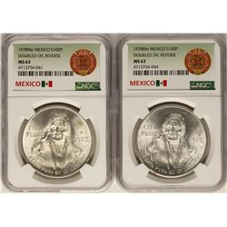 Lot of (2) 1978Mo Doubled Die Reverse 100 Pesos Silver Coins NGC MS63