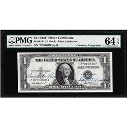 1935F $1 Silver Certificate STAR Note PMG Choice Uncirculated 64EPQ Courtesy Autograph