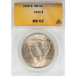 1925 $1 Peace Silver Dollar Coin ANACS MS63