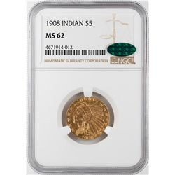 1908 $5 Indian Head Half Eagle Gold Coin NGC MS62 CAC