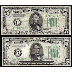 Lot of (2) 1934C $5 Federal Reserve STAR Notes Chicago