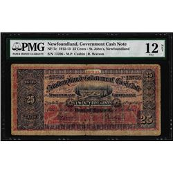 1912-13 Newfoundland 25 Cents Government Cash Note NF-7c PMG Fine 12 Net