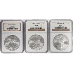 2006-2008 $1 American Silver Eagle Coin Coins NGC MS69