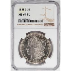 1888-S $1 Morgan Silver Dollar Coin NGC MS64 PL