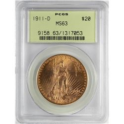 1911-D $20 St. Gaudens Double Eagle Gold Coin PCGS MS63 OGH