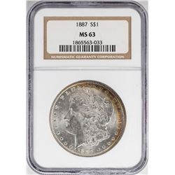 1887 $1 Morgan Silver Dollar Coin NGC MS63 Amazing Toning