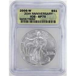 2006-W Burnished $1 American Silver Eagle Coin ICG SP70