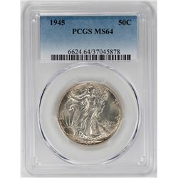 1945 Walking Liberty Half Dollar Coin PCGS MS64