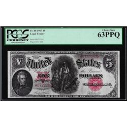1907 $5 Woodchopper Legal Tender Note Fr.88 PCGS Choice New 63PPQ