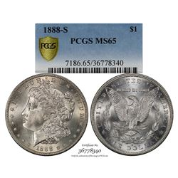 1888-S $1 Morgan Silver Dollar Coin PCGS MS65