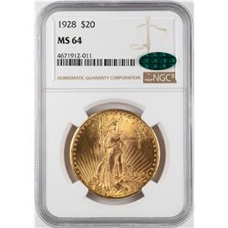 1928 $20 St. Gaudens Double Eagle Gold Coin NGC MS64 CAC