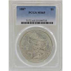 1887 $1 Morgan Silver Dollar Coin PCGS MS65