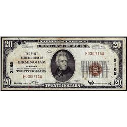 1929 $20 First NB Birmingham, AL CH# 3185 National Currency Note