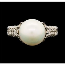 David Yurman .925 Silver 0.40 ctw Diamond and Pearl Ring