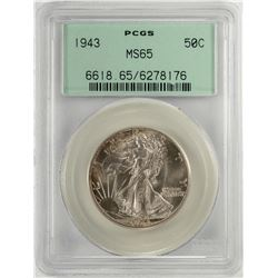 1943 Walking Liberty Half Dollar Coin PCGS MS65 Old Green Holder