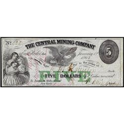 1864 $5 Central Mining Company Eagle Harbor, Michigan Obsolete Note