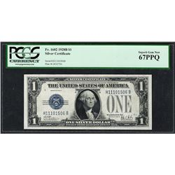 1928B $1 Funnyback Silver Certificate Note Fr.1602 PCGS Superb Gem New 67PPQ