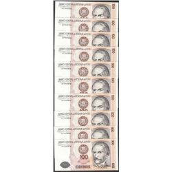 Lot of (10) 1987 Peru Cien Intis Uncirculated Bank Notes