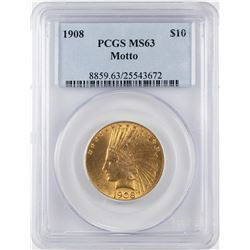 1908 $10 Indian Head Eagle Gold Coin PCGS MS63
