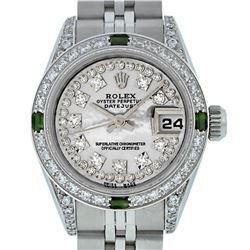Rolex Ladies Stainless Steel Quickset MOP Diamond Lugs & Emerald Datejust Wristwatch