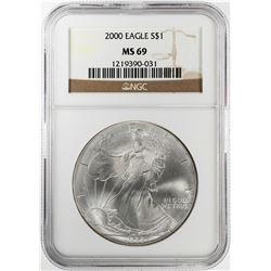 2000 $1 American Silver Eagle Coin NGC MS69