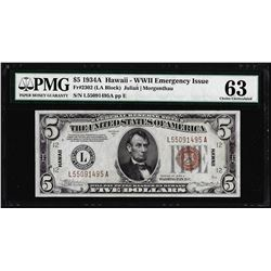 1934A $5 Hawaii Silver Certificate WWII Emergency Note PMG Choice Uncirculated 63