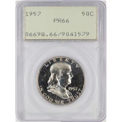 1957 Proof Franklin Half Dollar Coin PCGS PR66 Old Green Rattler
